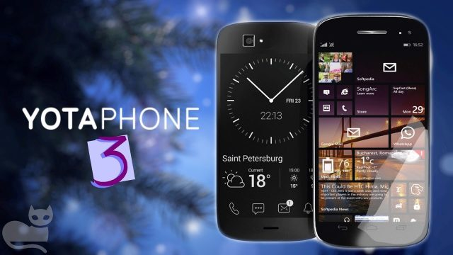 Obrázek: Telefon se dvěma displeji: YotaPhone 3 je zepředu smartphone, zezadu čtečka knih