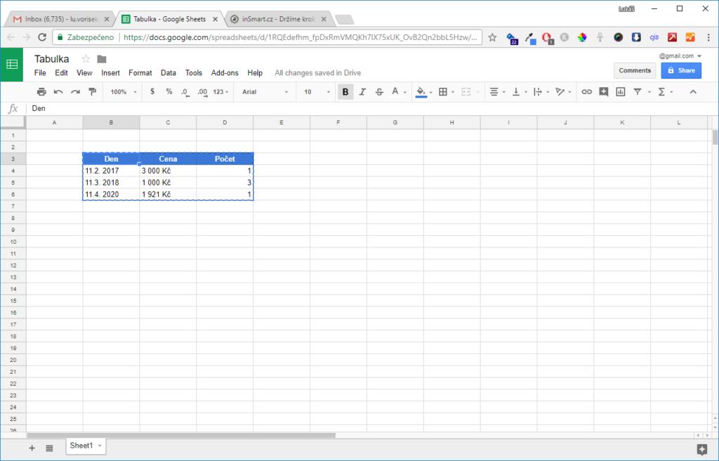 Obrázek: Návod: Jak vložit tabulku do těla e-mailu na Gmail.com?