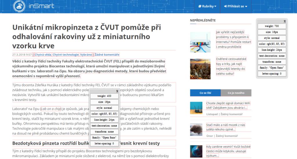 Obrázek: Jak snadno zjistit název fontu na webové stránce? Pomohou šikovná rozšíření do prohlížeče