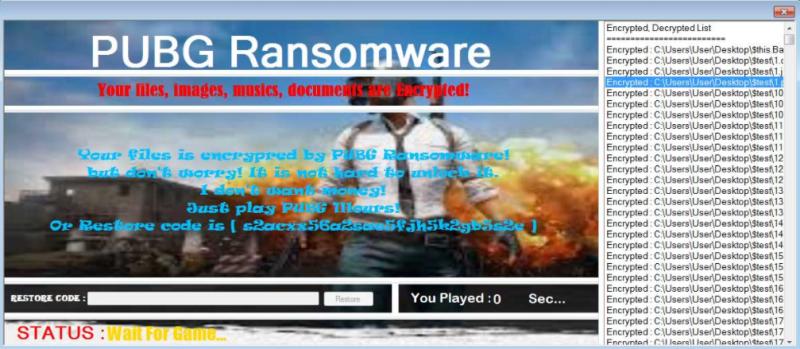 Obrázek: Ransomware vám zašifruje data, pro jejich odemčení si musíte zahrát PUBG