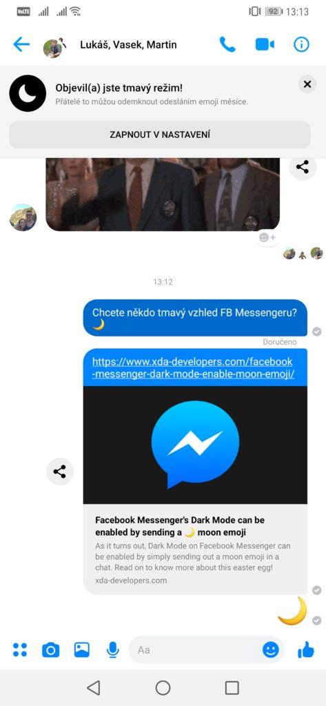 Obrázek: Jak zapnout tmavý režim pro Facebook Messenger? Stačí poslat emoji ?