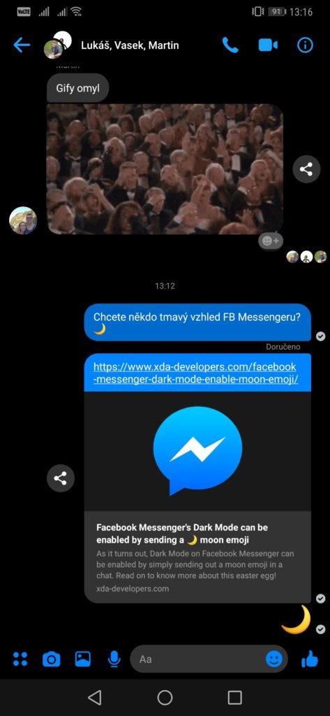 Obrázek: Jak zapnout tmavý režim pro Facebook Messenger? Stačí poslat emoji 🌙
