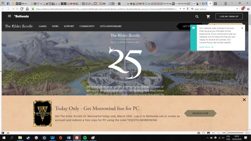 Obrázek: Legendární The Elder Scrolls III: Morrowind je na 24 hodin zdarma ke stažení v edici GOTY