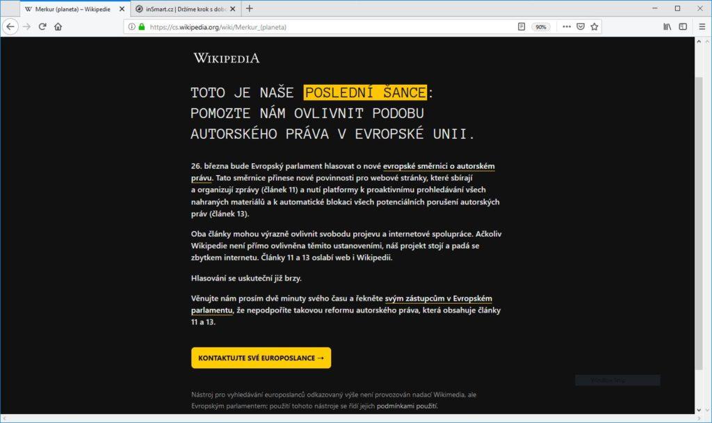 Obrázek: Wikipedie dnes nefunguje: Ukazuje, jak by mohl vypadat svět bez svobodného přístupu k informacím