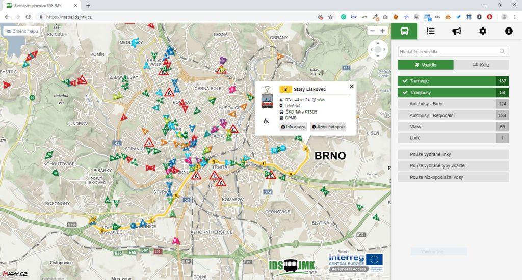 Na Moravě zobrazit živá data s pohybem veškeré dopravy zobrazit umí. V Praze je to problém.