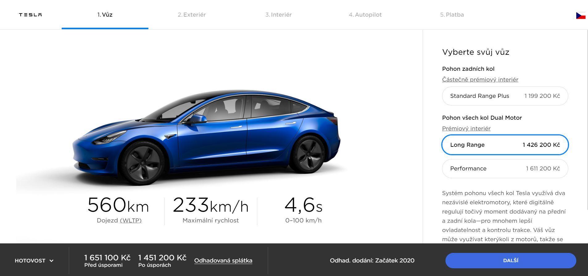 Obrázek: Kolik stojí elektromobil Tesla s autopilotem? Český konfigurátor ukázal oficiální ceny