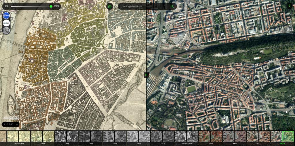Obrázek: Jak vypadala Praha po bombardování v roce 1945, za obrozenců a jak dnes? Aplikace PRAHA VČERA ukazuje rozdílné tváře města
