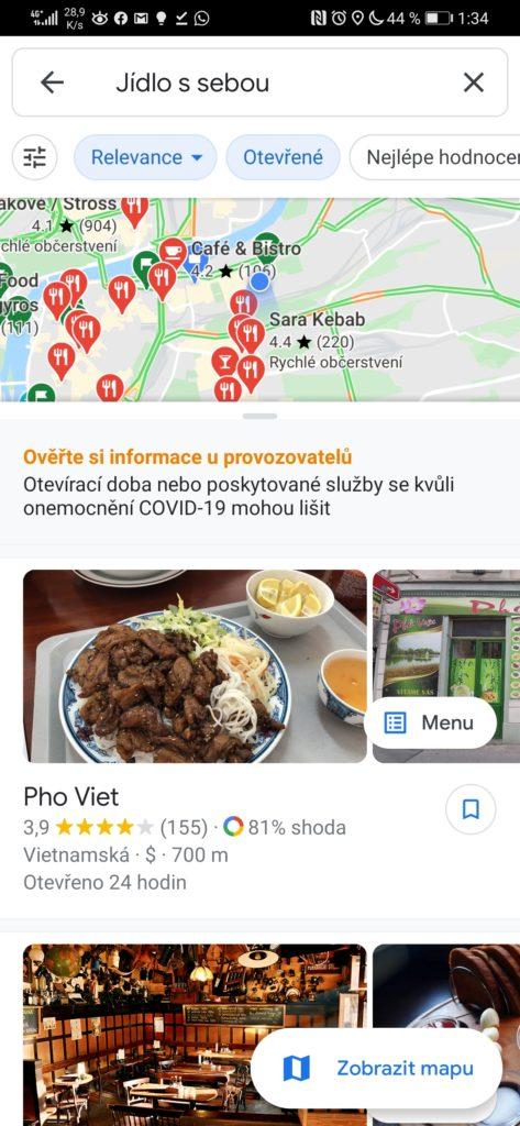 Obrázek: Které restaurace rozváží jídlo? Google Mapy to díky nové funkci umí ukázat