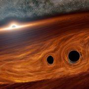 Obrázek: Astronomové možná poprvé vhistorii spatřili světlo vyzařované při srážce dvou černých děr