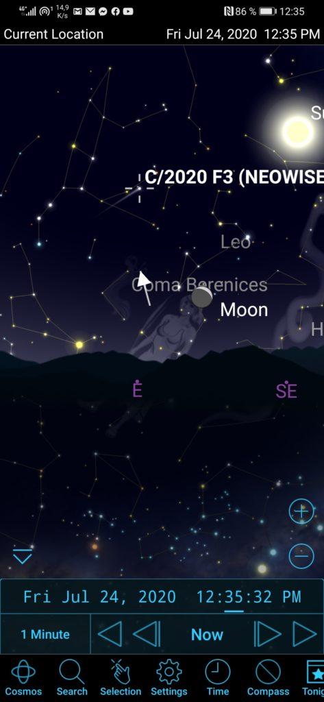 Obrázek: Jak rychle najít kometu Neowise na obloze? Pomůže mobilní aplikace zdarma