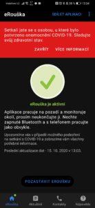 Obrázek: eRouška hlásí rizikové setkání i těm, kteří nevyšli z domu: Stáhněte si aktualizaci opravující chybu