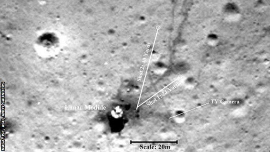 Obrázek: Jak daleko doletěl golfový míček na Měsíci? Fotografie po 50 letech odhalují pravdu
