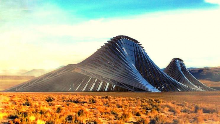Obrázek: Solární hora je elektrárna i futuristické místo k úkrytu před spalujícím sluncem